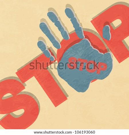 Stop hand illustration - stock photo