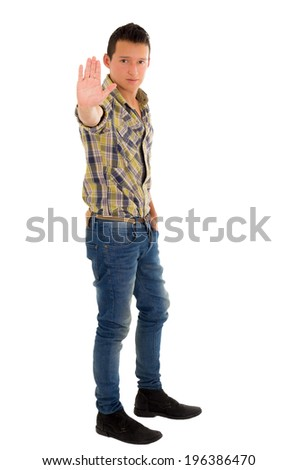 stop hipanic young man in a shirt posing on a white background