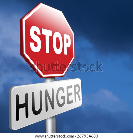 stop hunger suffering malnutrition starvation and famine caused by food scarcity undernourished bad harvest aid - stock photo