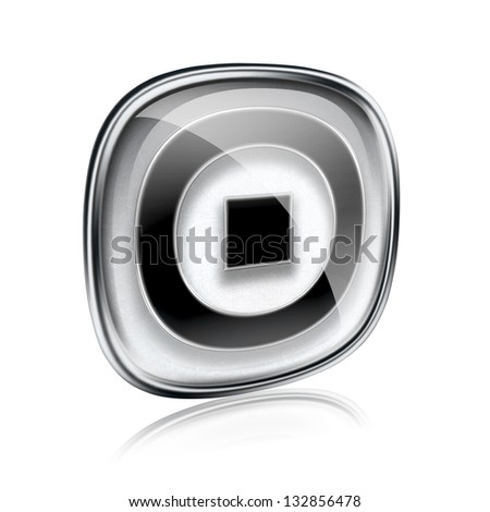 Stop icon grey glass, isolated on white background.