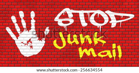 stop junk mail and spam graffiti on red brick wall, text and hand - stock photo