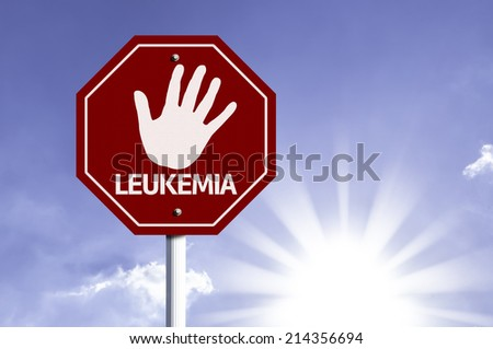 Stop Leukemia red sign with sun background  - stock photo