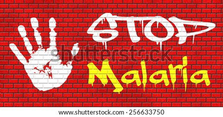 stop malaria by prevention treatment with pills or mosquito nets good diagnosis for symptoms and insect repellent and net avoids bite and infection with parasite graffiti on red brick wall - stock photo