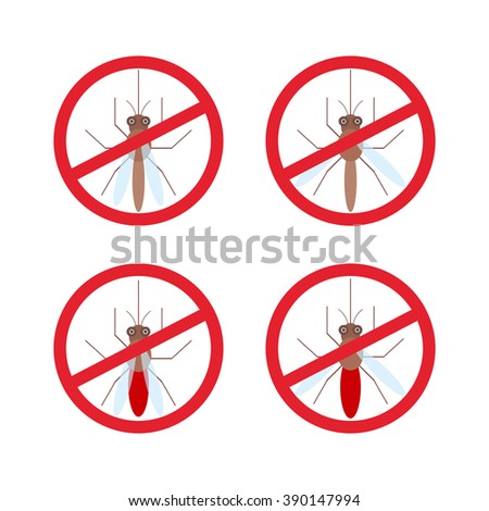 stop mosquito sign in red circle.  - stock photo