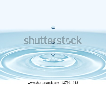 stop motion of droplet on water surface creating wave pattern spread out - stock photo