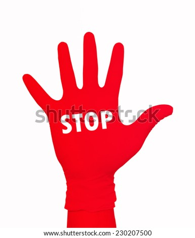 STOP ON RED HAND - stock photo