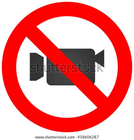 Stop or ban sign with camcorder icon isolated on white background. Video shooting is prohibited illustration. Using camera is not allowed image. Camcorders are banned.