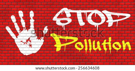 stop pollution reuse and recycle go green renewable energy and sustainable agriculture reduce waste graffiti on red brick wall, text and hand - stock photo