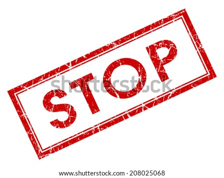 Stop red square grungy stamp isolated on white background - stock photo