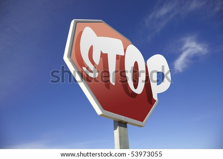 Stop road sign - stock photo
