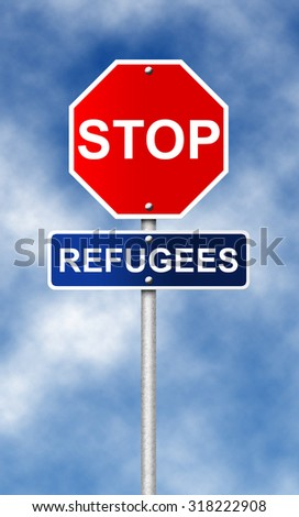 Stop road sign symbol for fight against with the refugees