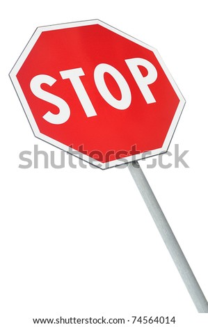 Stop road sign with falling perspective