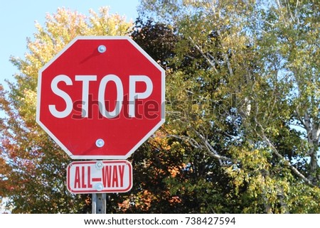 Stop Sign All-Way in the Fall
