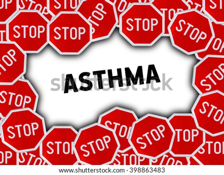 Stop sign and word asthma