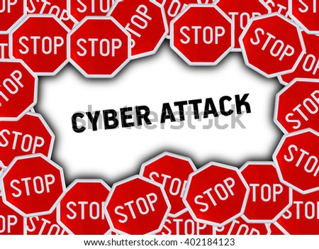 Stop sign and word cyber attack