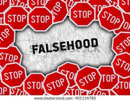 Stop sign and word falsehood - stock photo