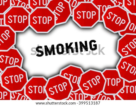 Stop sign and word smoking