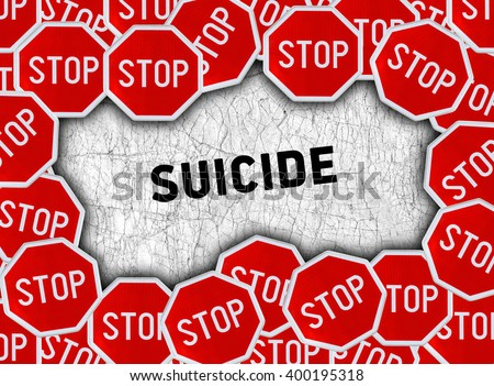 Stop sign and word suicide - stock photo