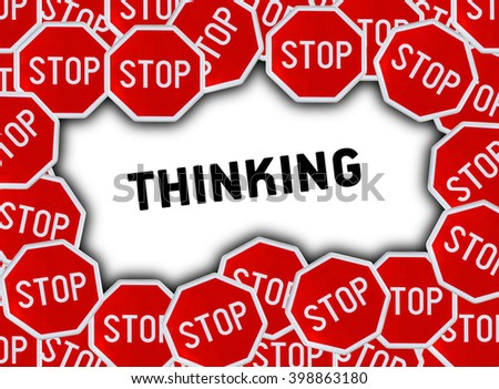 Stop sign and word thinking