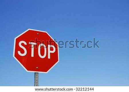 Stop sign blue sky background room for copy space