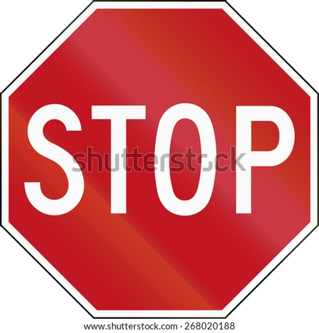 Stop sign in Canada. - stock photo