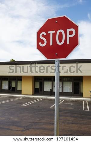 Stop sign on parking, California, USA - stock photo