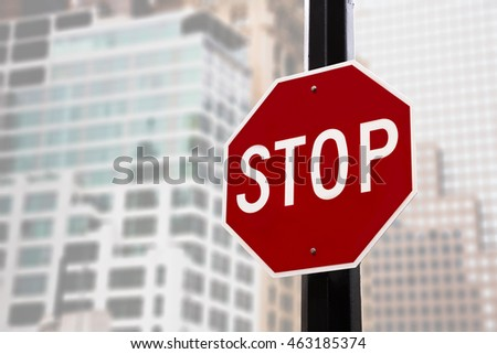Stop sign on the street of New York City in Manhattan