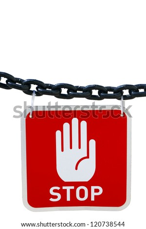 Stop sign on white isolated background - stock photo