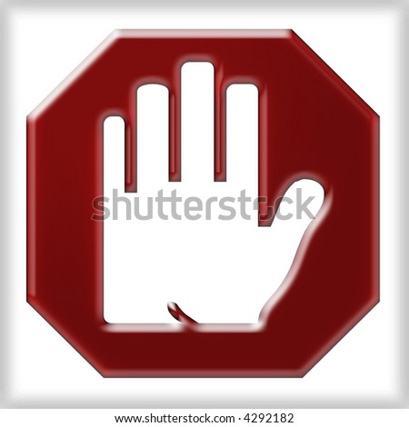 Stop sign with hand bursting through in 3D - stock photo