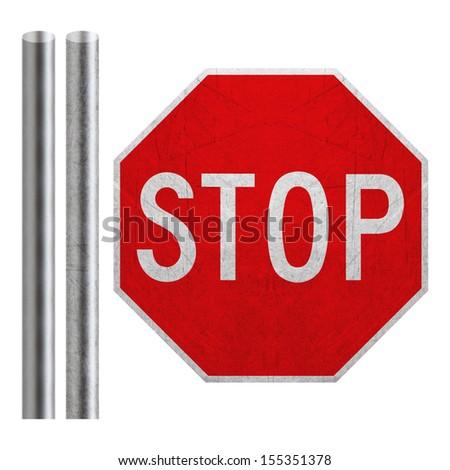 Stop sign with metal bar isolated on white  (with clipping work path) - stock photo