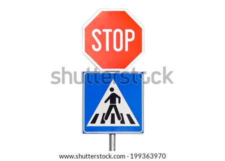 stop sign with pedestrian crossing isolated on white background - stock photo