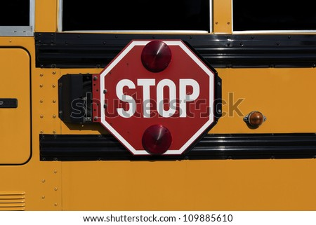 Stop sign with red lights on the side of the school bus(street view)