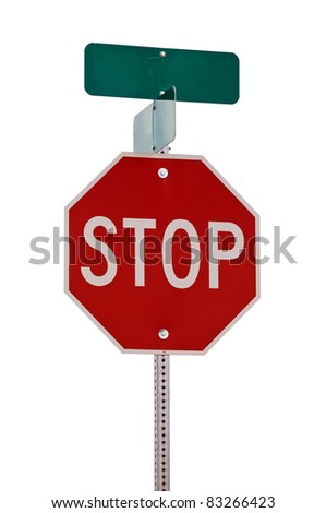 Stop sign with street signs on top. Isolated on white with a clipping path - stock photo