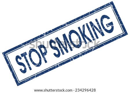 stop smoking blue square stamp isolated on white background - stock photo
