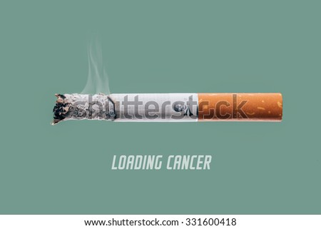 Stop smoking concept advertisement, cigarette burning as cancer loading bar with skull and bones symbol - stock photo