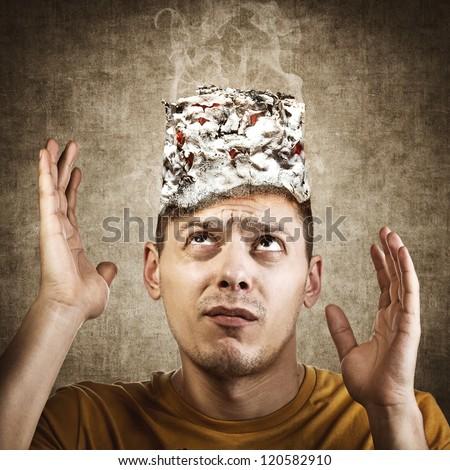 Stop smoking concept. Burning man's head. Quit smoking - stock photo