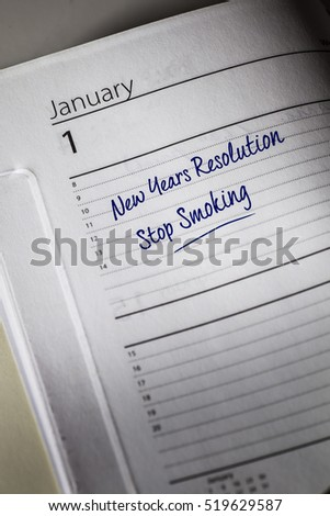 Stop Smoking New Years Resolution in the diary