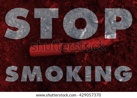Stop smoking, no smoke cigarette or tobacco leave drop on the ground, world no tobacco day concept. - stock photo