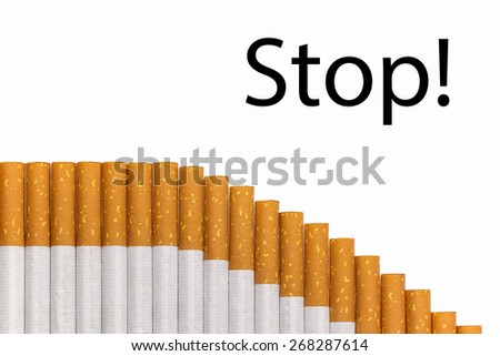 Stop smoking text with a graph of cigarettes, black text. - stock photo
