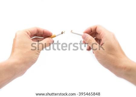 stop smoking with broken cigarette. - stock photo