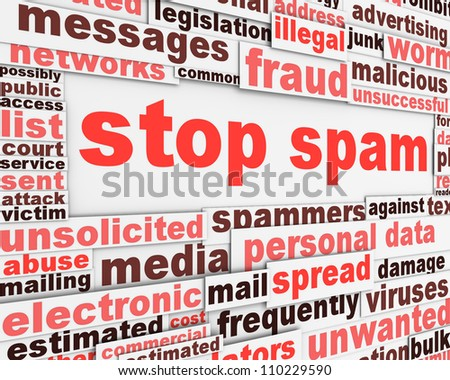 Stop spam slogan poster concept. Private messages security background design - stock photo