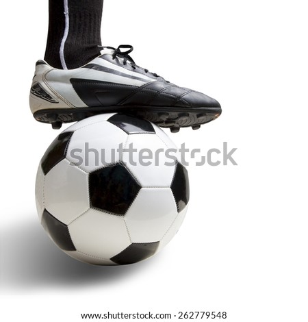 Stop the Ball by soccer player foot isolated on white background. This has clipping path. - stock photo