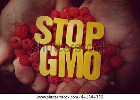 Stop the spread of the GMO - stock photo