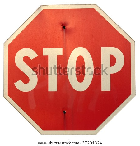 Stop traffic sign isolated on white background