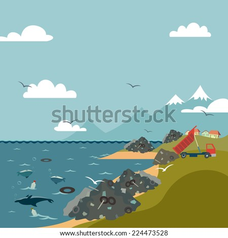 Stop trashing our ocean beaches. Save the Earth eco illustration - stock photo