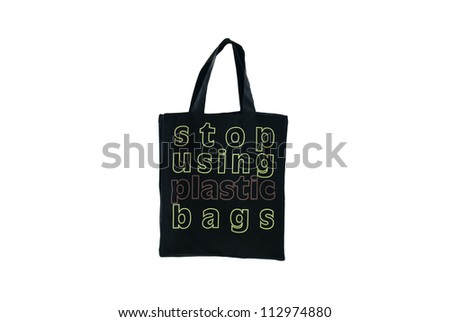 Stop using plastic bag to save the world by using cloth bag - stock photo