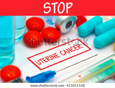 Stop uterine cancer. Vaccine to treat disease. Syringe and vaccine with drugs. - stock photo