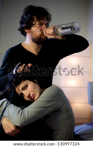 Stop violence against women drunk mean beat wife - stock photo