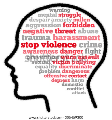 Stop violence in word cloud concept - stock photo