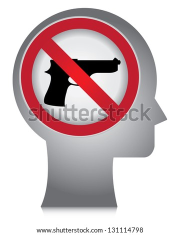 Stop Violence Or No Gun Prohibited Sign Present By Head With No Gun Sign Inside Isolated On White Background - stock photo